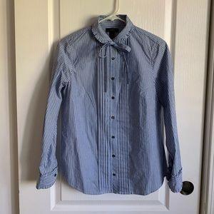 J.Crew Stripped tie-neck tuxedo shirt with ruffles